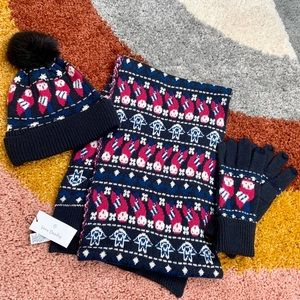 VERA BRADLEY NWT Scarf Gloves Hat Set Owl Print